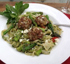 Lamb Meatballs with Mint Pesto Pasta