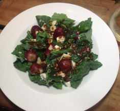 Chopped Kale Salad with Grapes and Feta