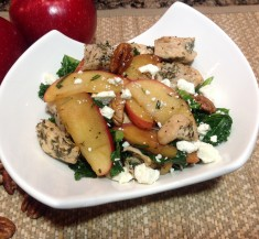 Chicken Kale and Apple Salad with Pecans and Feta