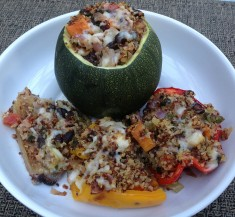 Black Bean, Sweet Potato, & Quinoa Stuffed Peppers