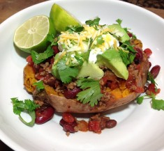 Loaded Sweet Potato with Mexican Chili