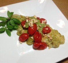Pesto Fish Packet with Tomatoes and Green Onions