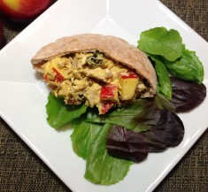 Turkey Curry Salad with Apples, Cranberries & Walnuts on Pita