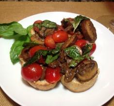 Mushroom Tomato Basil Bruschetta