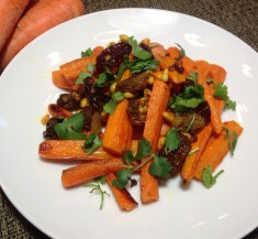 Roasted Curried Carrots with Pine Nuts and Raisins
