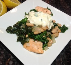 Salmon with White Beans, Kale and Honey Mustard Sauce