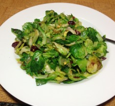 Shredded Brussels Sprouts with Pistachios, Cranberries and Parmesan
