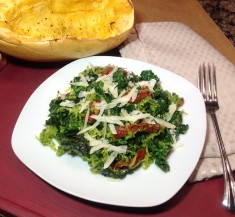 Pesto Spaghetti Squash with Kale and Sun-Dried Tomatoes