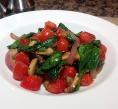 Spinach Mushroom and Cherry Tomato Fry-Up