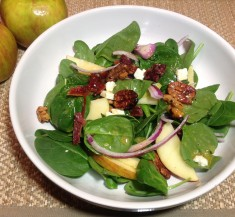 Spinach Salad with Apples and Sweet Spicy Nuts