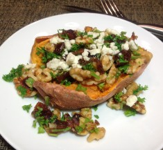 Stuffed Sweet Potato with Dates, Walnuts and Gorgonzola