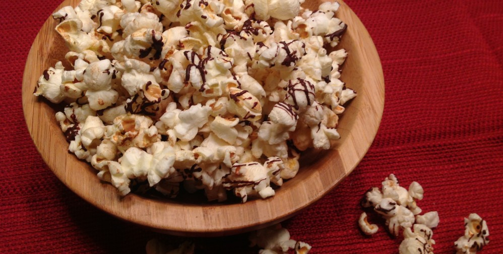 Dark Chocolate Drizzled Popcorn