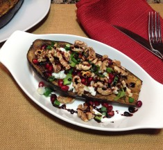 Roasted Eggplant with Ricotta and Pomegranates