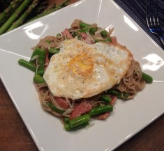Egg-Topped Soba Noodles with Asparagus and Bacon