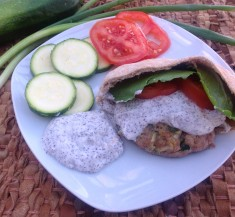 Turkey and Zucchini Burgers with Yogurt Sumac Sauce