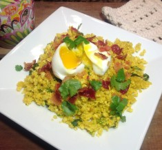 Egg Topped Cauliflower Couscous with Bacon
