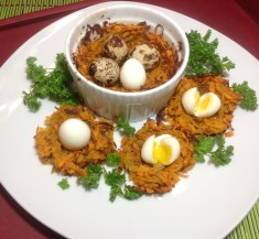 Sweet Potato Nests with Quail Eggs