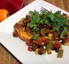 Enchilada Style Stuffed Sweet Potato