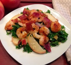 Apple Kale Millet with Spicy Shrimp and Bacon