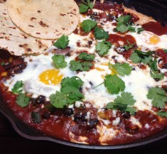 Chipotle Huevos Rancheros with Corn and Black Beans
