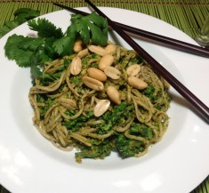 Soba Noodles with Broccoli and Peanut Cilantro Sauce