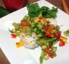 White Fish with Rhubarb Salsa