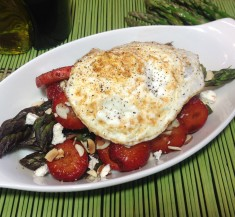 Egg Topped Roasted Asparagus and Strawberry Salad
