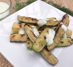 Grilled Cucumbers with Feta Dipping Sauce