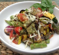 Grilled Vegetables with Basil Pecan Pesto