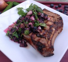 Pork Chops with Blueberry Ginger Relish