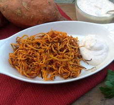 Sweet Potato Curly Fries with Chipotle Lime Dipping Sauce