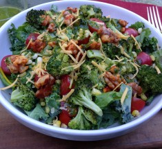 Roasted Broccoli and Corn Bowl with Candied Walnuts