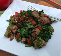 Sausage, Kale and Okra Saute