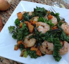 Shrimp, Sweet Potato and Kale Stir Fry