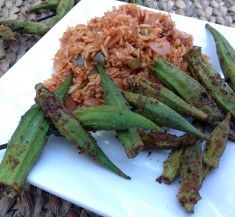Blackened Okra with Red Rice