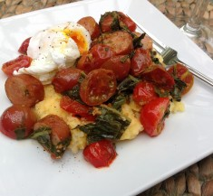 Polenta Bowl with Spinach, Chicken Sausage and Poached Egg