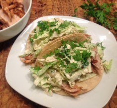 Slow Cooker BBQ Chicken Tacos with Blue Cheese Coleslaw