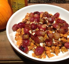 Roasted Grape, Goat Cheese and Honey Sweet Potatoes