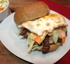 Bulgogi Sandwiches with Slaw and Sriracha Sauce