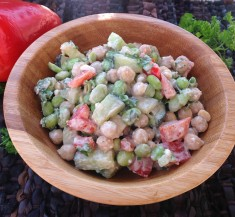 Edamame Chickpea Feta Salad