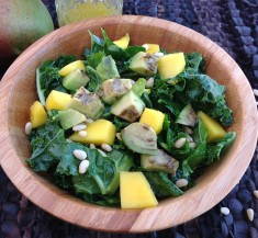 Cumin Roasted Avocado and Mango Kale Salad