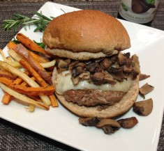 Rosemary Swiss Burgers with Mushroom Sauce