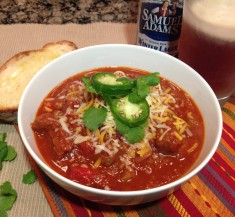 Steak and Sausage Beer Chili