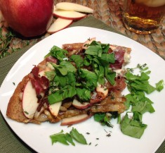 Caramelized Onion, Apple and Prosciutto Pizza