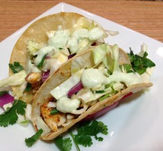 Fish Tacos with Simple Slaw and Avocado Cream