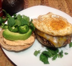 Black Bean Burgers with Egg and Sriracha Spread