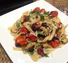 Mediterranean Roasted Eggplant Pasta