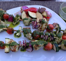 Grilled Chimichurri Chicken and Veggie Skewers