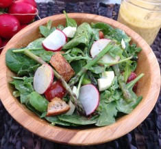 Spring Salad with Deviled Egg Inspired Vinaigrette