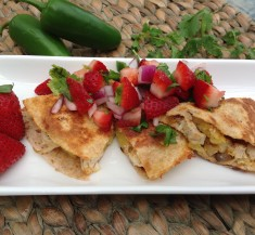 Pineapple Chicken Quesadillas with Strawberry Salsa